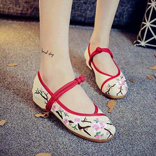 white Casual Oxford Flores Zapatos Bordados Pisos Zapatos Mujer China Mujer blossom Plum Retro NGRDX Calzado amp;G De zOtWwxqa