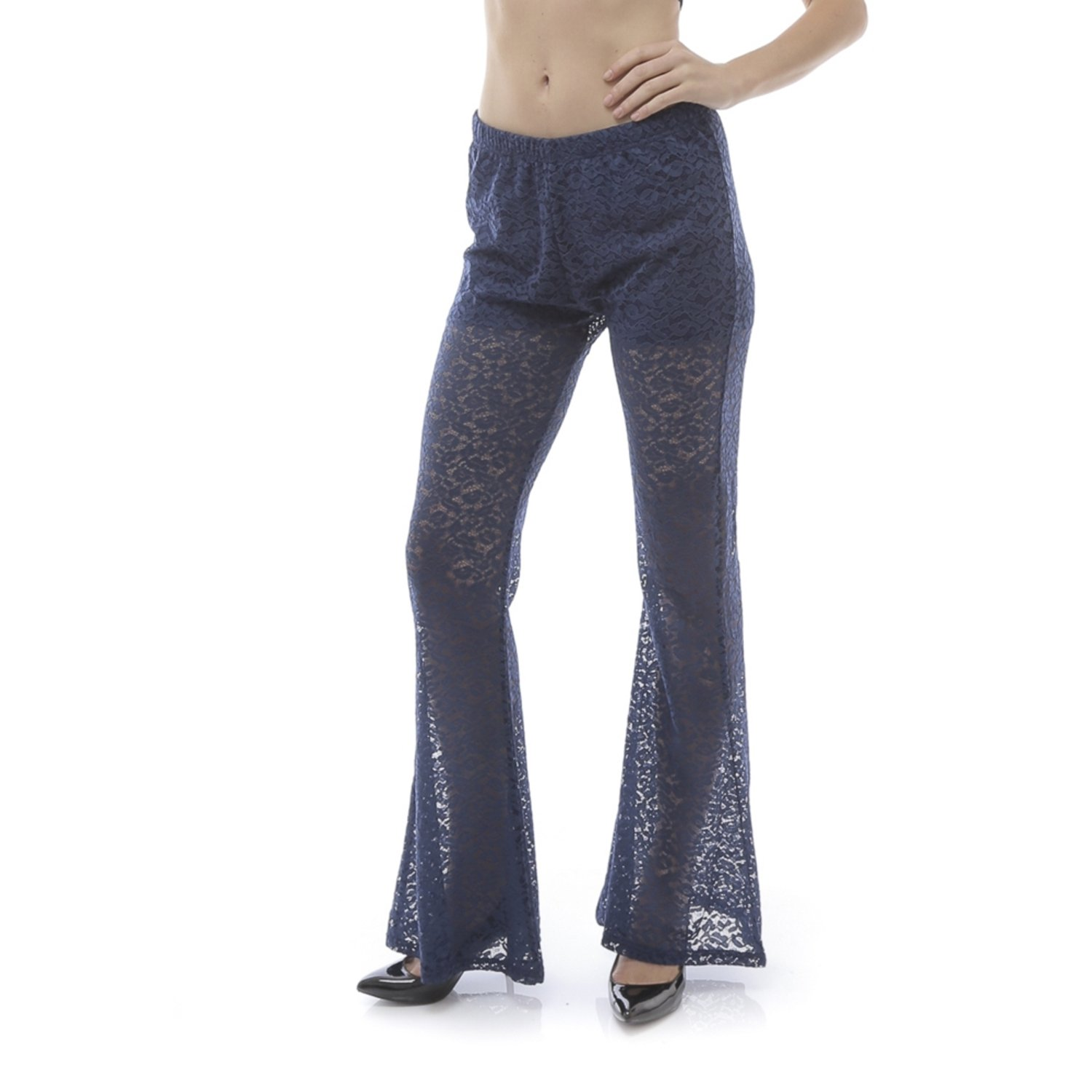 Emma's Mode Women's Lace Flared Pants with Inner Shorts