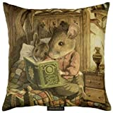 ADORABELLA Pantomime Animals Collection - Soft Touch Velvet Printed Pillow - Bedtime Stories Design 17'' x 17'' Square Throw Pillow Home Decor Scatter Cushion - Complete With Insert