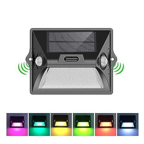 Lámparas solares para exteriores – inalámbrico RGBW LED de detección de movimiento de seguridad de pared