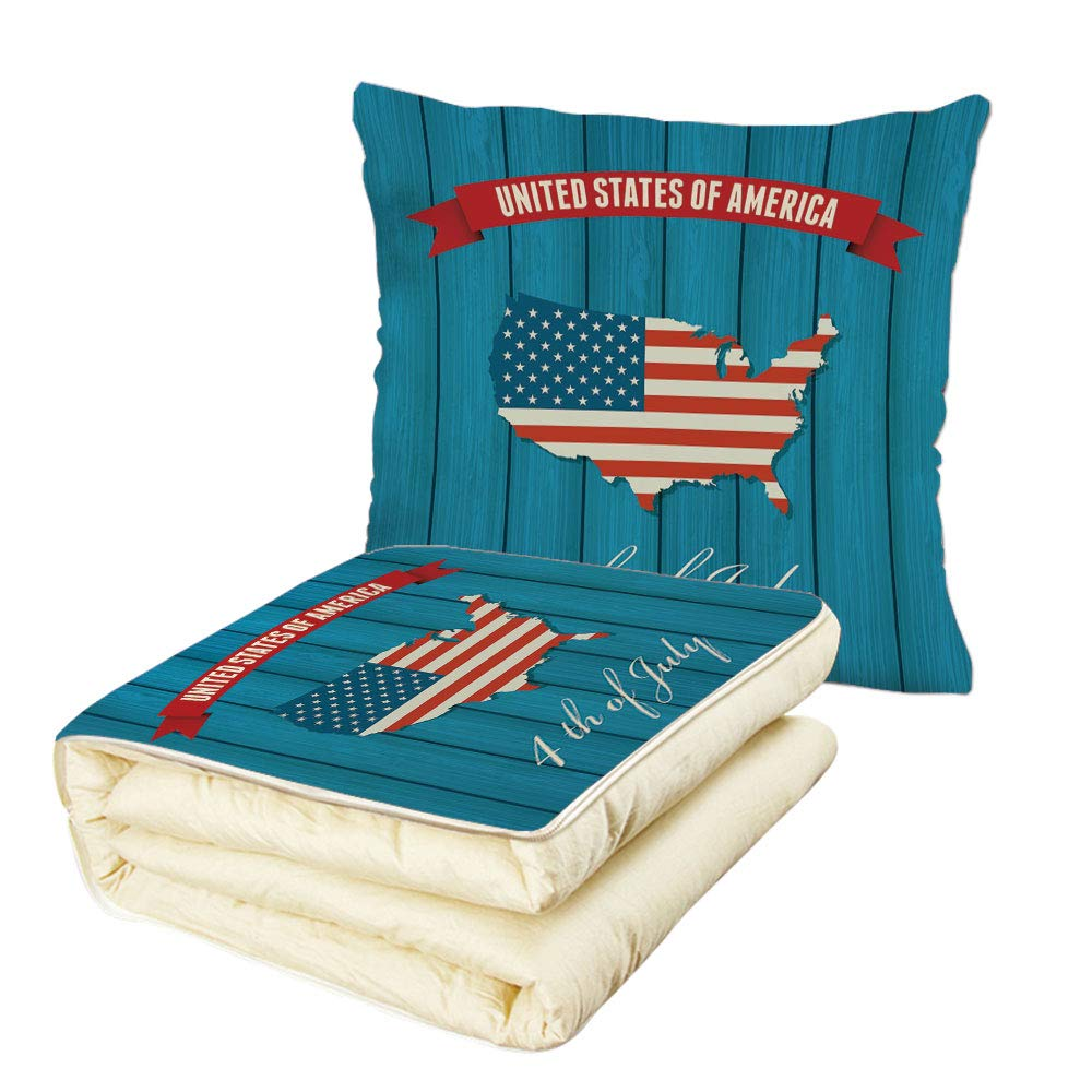 iPrint Quilt Dual-Use Pillow USA Map United States of America Fourth of July Themed Icon on Wooden Background Decorative Multifunctional Air-Conditioning Quilt Petrol Blue Red White by iPrint (Image #1)