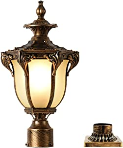 LONEDRUID Outdoor Post Light Fixture Bronze Retro Exterior Pole Lantern with 3 inch Pier Mount Base for Garden Patio Pathway, UL Listed