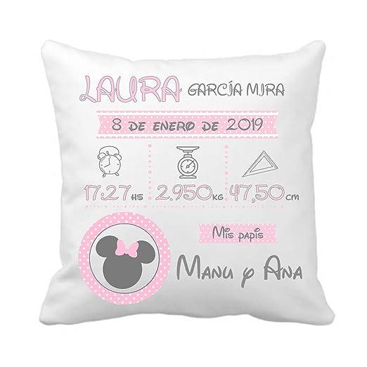 Kembilove Cojín Natalicio Minnie Personalizado para Bebes – Cojín Natalicio con Nombre y Datos del Bebe – Cojín Natalicio para recién Nacidos – ...