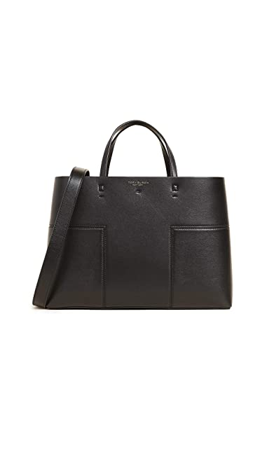 f321a1eec9bb Tory Burch Women's Block T Triple Compartment Tote, Black, One Size