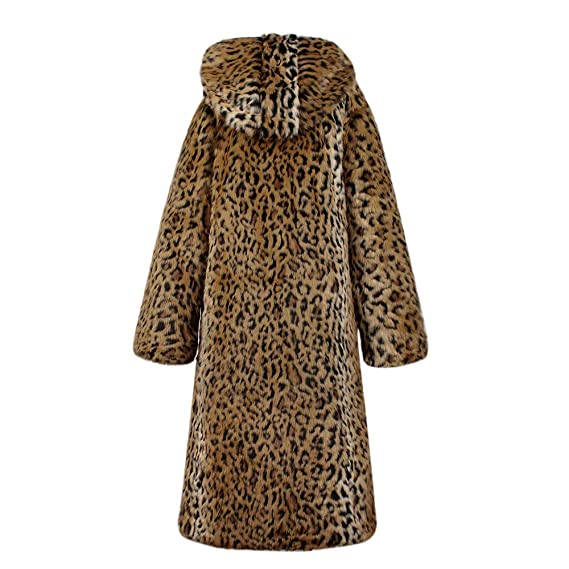 Yvelands Abrigos de Piel para Mujer de Largo, Womens Gradient Warm Faux Fur Coat Jacket Winter Leopard con Capucha.: Amazon.es: Ropa y accesorios
