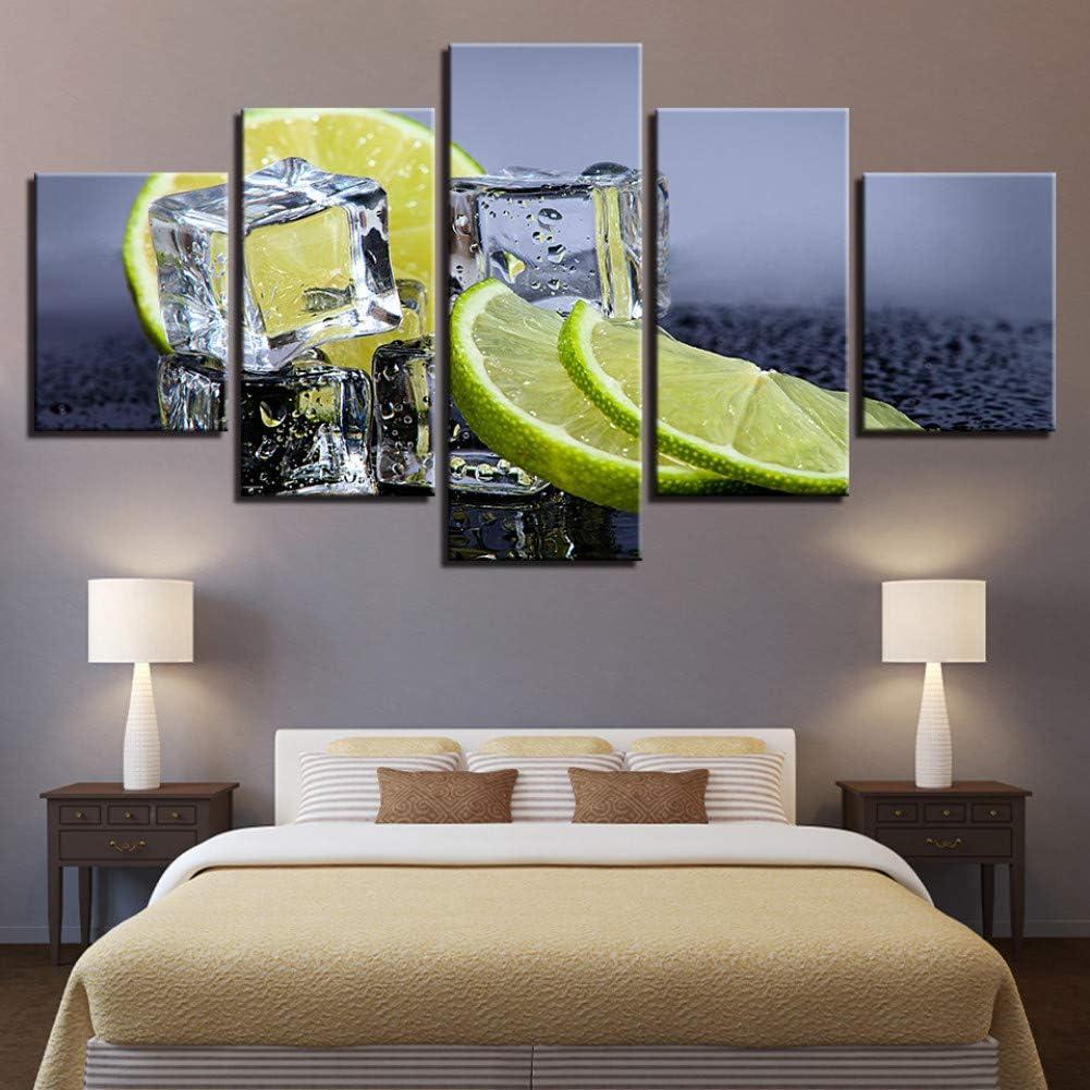JFASJK 5 lienzos 5 Piezas de Fruta, limón, Hielo, Cubitos, Pinturas, Impresiones, Cuadros, Cocina, Arte de Pared, Trabajo, decoración para el hogar, Comida, Bebida, Cartel