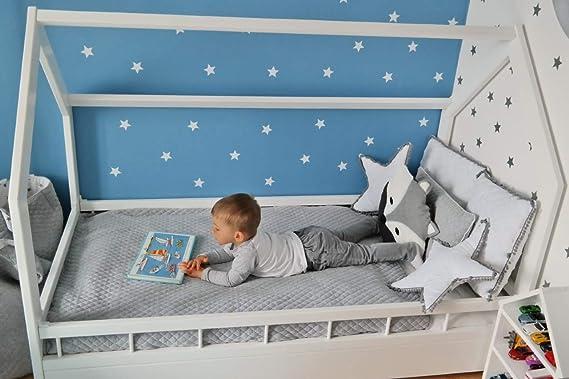 Solenzo – Cama cabaña para niños con somier y barrera (blanco + colchón, 80 x 160 cm)