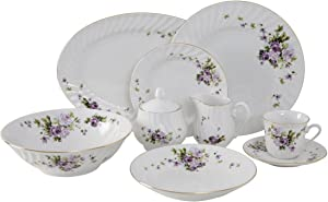 Ciera 45-Piece Lucinda Dinner Set with Gold Trim; Vintage Floral