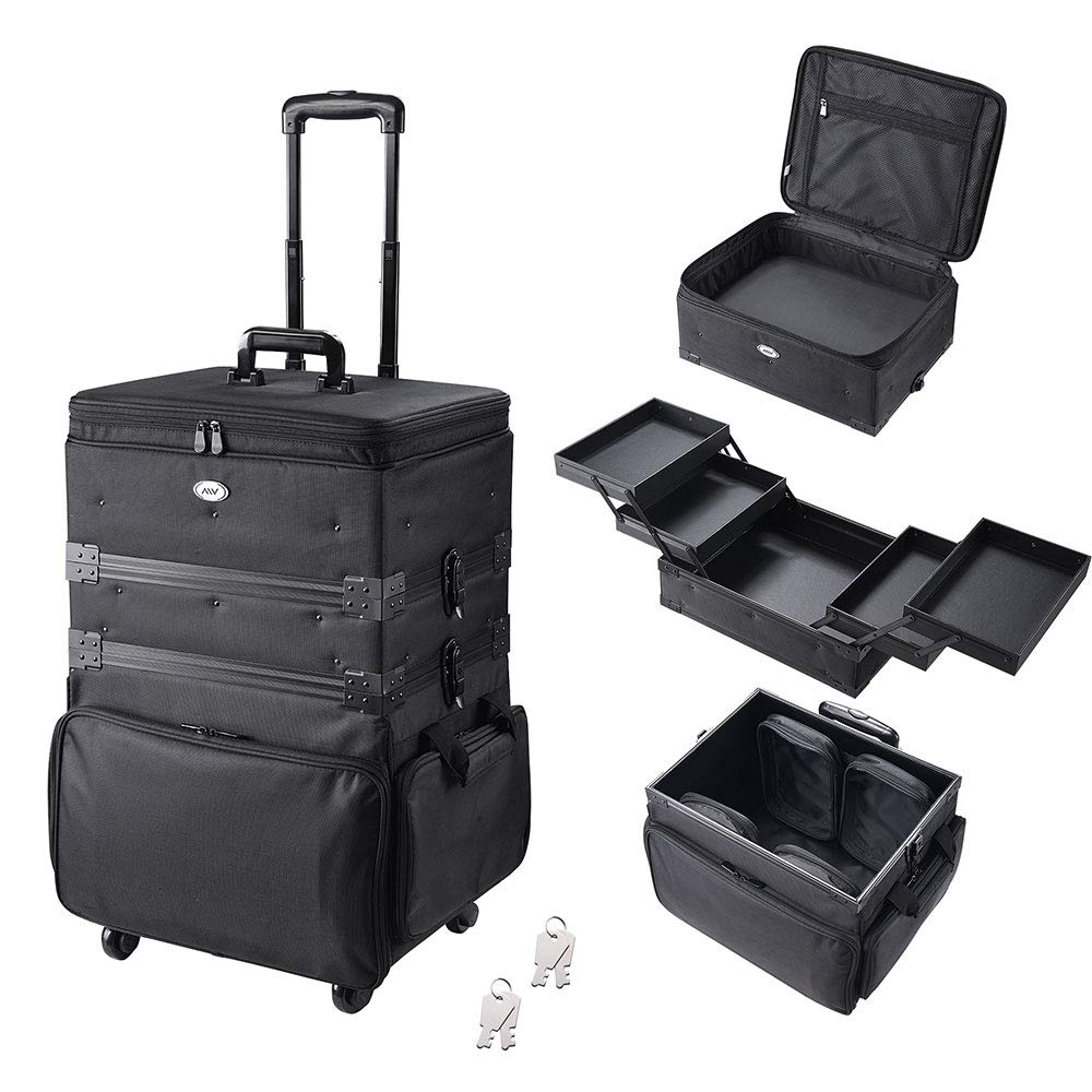 AW 3-in-1 Soft Sided Rolling Makeup Train Case with 4 Wheels 1680D Oxford Cosmetic Travel Case Trolley Lockable by AW