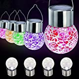 ElementDigital Globe Solar Lights Christmas Hanging Garden Lanterns Cracked Glass Solar Powered Globe Bulb Crackle Glass LED Outdoor Decorative Fairy Path Light Globes Set of 4 Pcs (Dream Color)
