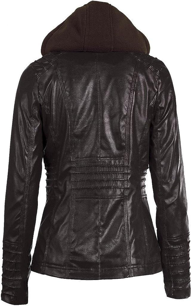QZUnique Womens Faux Leather Zipper Motorcycle Bomber Biker Jacket with Hoodie