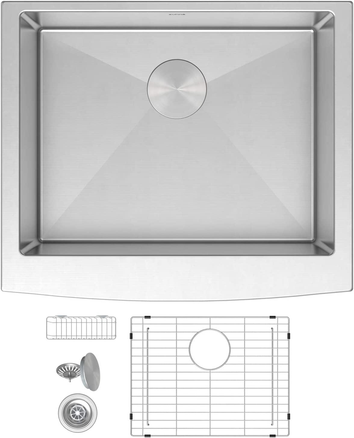 ZUHNE Prato 24 Inch Single Bowl Farm House 16G Stainless Steel Kitchen Sink, Scratch Protector Grid, Caddy and Strainer Curved Tall Apron