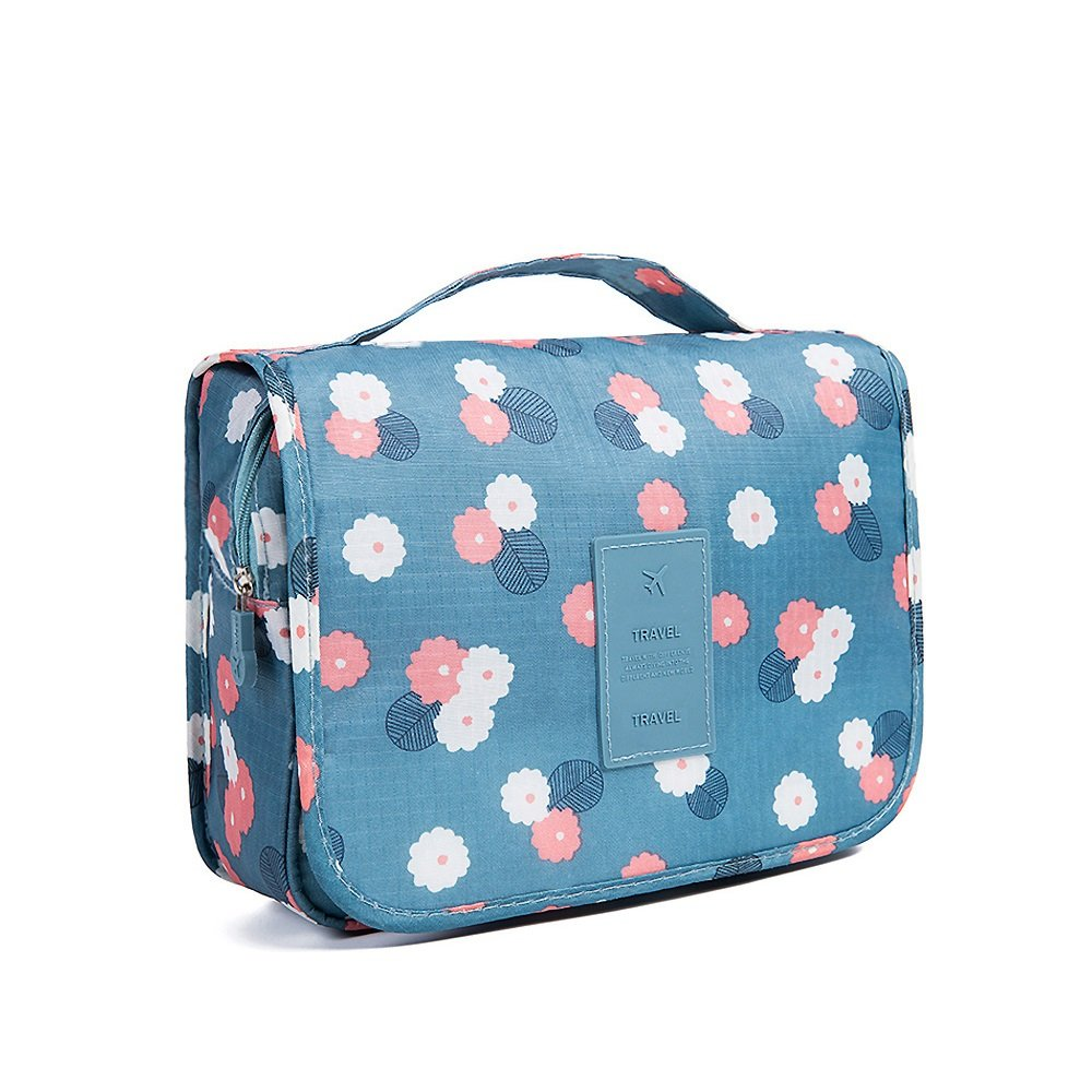 QMARK Hanging Cosmetic Travel Bag Organizer with Zipper Portable Multifunction Beach Pouch Waterproof Carry Case Set for Accessories & Makeup Kit Bathroom Toiletry Storage Polka Dot Blue