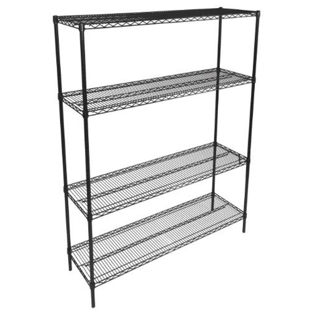 John Boos EP-244866-BK Zinc Based Epoxy Coated Wire Shelving Kit, 66'' Tall Posts, 48'' Length x 24'' Width Shelves, Black