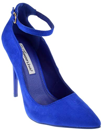 6cd25518c185 Forever Grace 8S Womens Strappy Pointed Toe Curvy Pumps Blue Suede 5