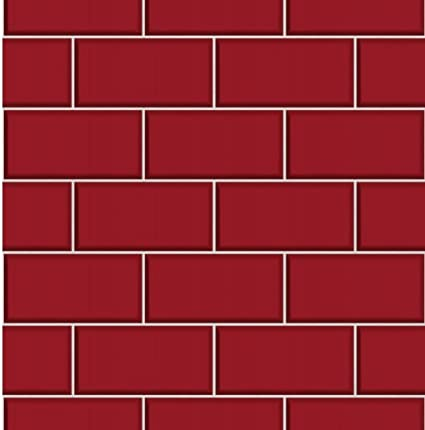 Image Unavailable  sc 1 st  Amazon UK & BHF FD40138 Ceramica Subway Tile Red Kitchen and Bathroom Wallpaper ...
