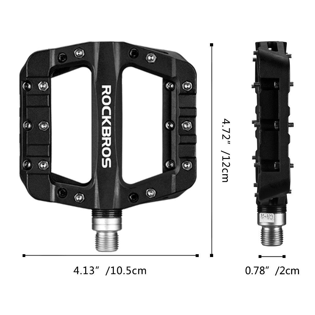 RockBros Lightweight Mountain Bike Pedals Nylon Fiber Bicycle Platform Pedals for BMX MTB 9/16'' Black by ROCK BROS (Image #6)