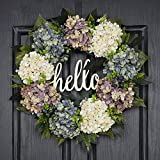 QUNWREATH Handmade Floral 18 inch Multicolor Hydrangea Series Wreath,Gifts Package,Spring Wreath for Front Door,Rustic Wreath,Farmhouse Wreath,Grapevine Wreath,Light up Wreath,Everyday Wreath,QUNW69