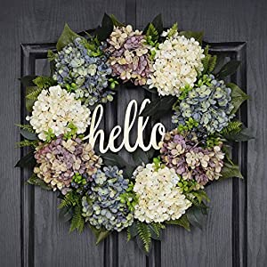 QUNWREATH Handmade Floral 18 inch Multicolor Hydrangea Series Wreath,Gifts Package,Free Hooks,Spring Front Door Rustic Wreath,Farmhouse Wreath,Grapevine Wreath,Light up Wreath,Everyday Wreath,QUNW69