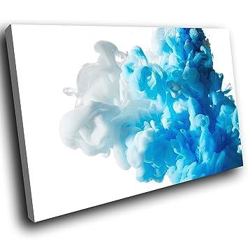 AB798C Gerahmte Leinwanddruck Bunte Wand Kunst   Blau, Grau, Weiß Cool    Modernes