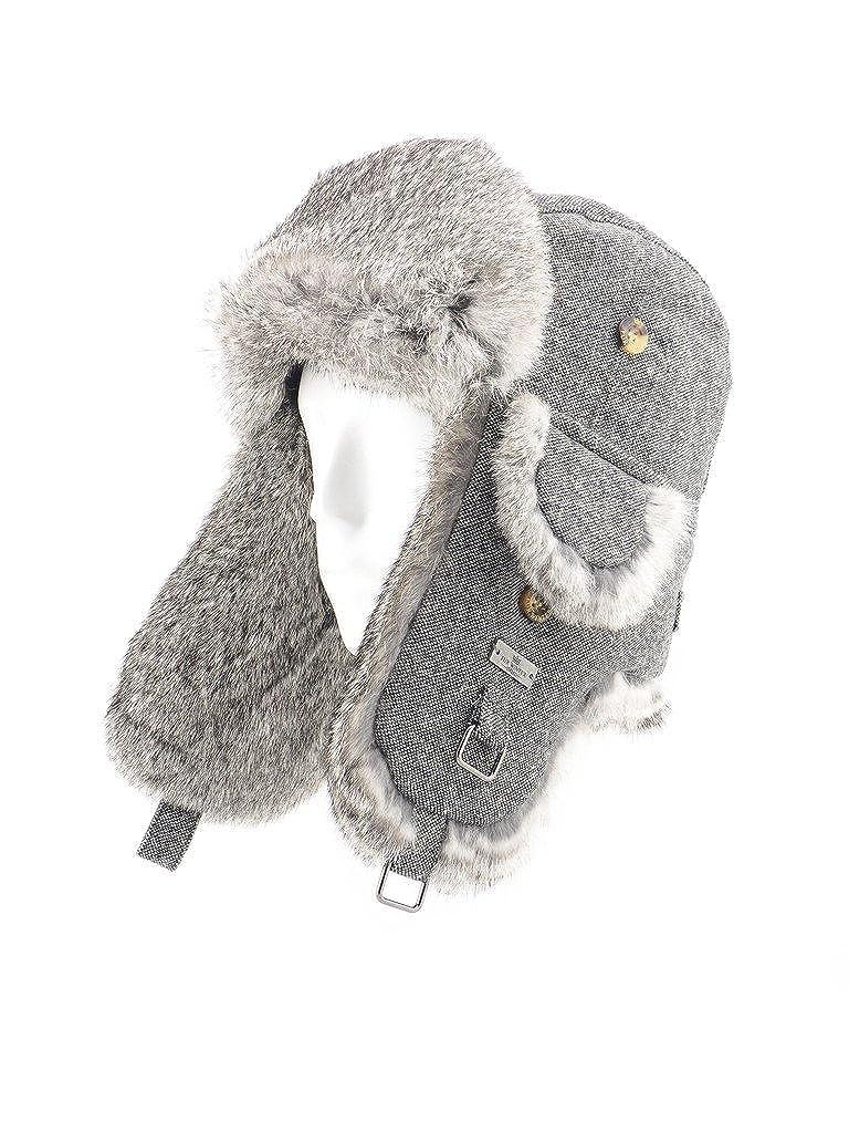 FUR WINTER Wool Blend Herringbone Tweed Rabbit Fur Aviator Bomber Trapper Hat