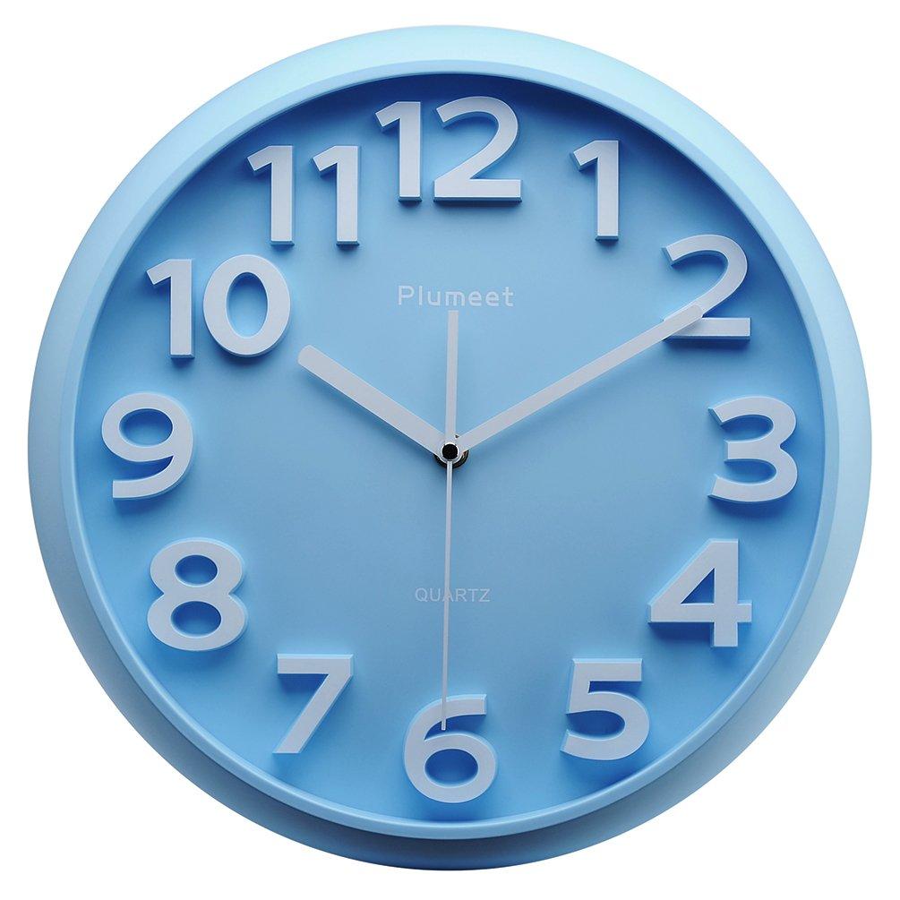 Plumeet Kids Wall Clock, 13'' Silent Non-Ticking Quartz Decorative Large Number Wall Clock, Nice Blue Quiet Wall Clocks for Kids/Girls/Boy Living Room (Blue)