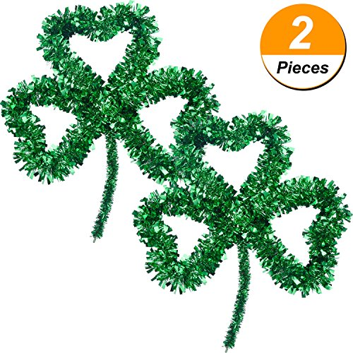 Jovitec 2 Pack Irish St. Patrick's Day Lucky Green Tinsel Shamrock Wall Decoration for Party Supply, 13 x 12 Inches