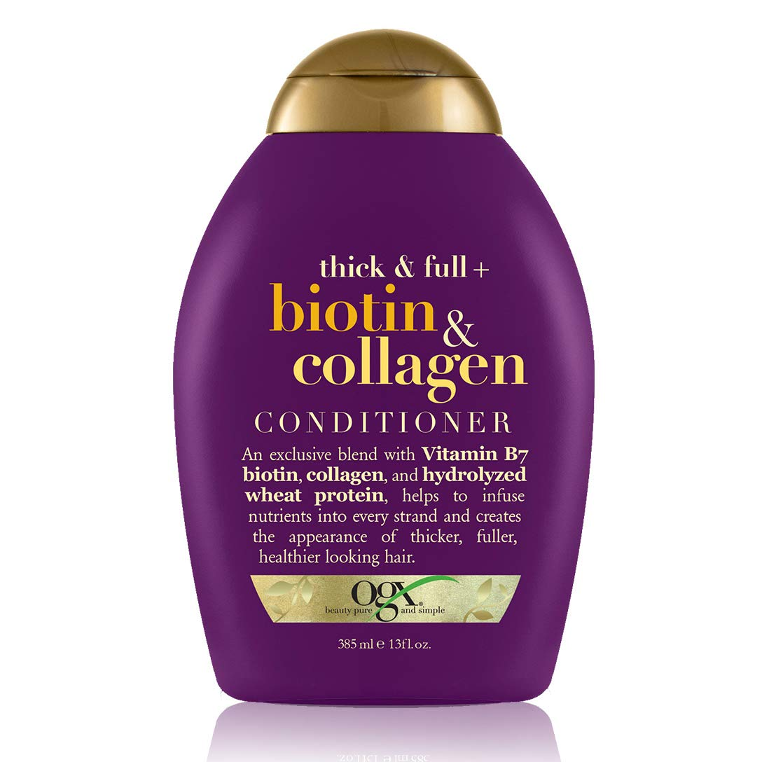 OGX Thick & Full + Biotin & Collagen Volumizing Conditioner for Thin Hair, with Vitamin B7 & Hydrolyzed Wheat Protein, Paraben-Free, Sulfate-Free Surfactants, 13 fl oz