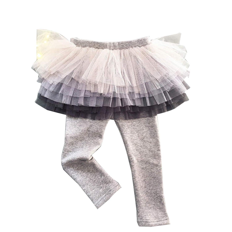 Elonglin Kids Girls Leggings with Mini Tulle Skirt Trousers Thin Skirt-Pants