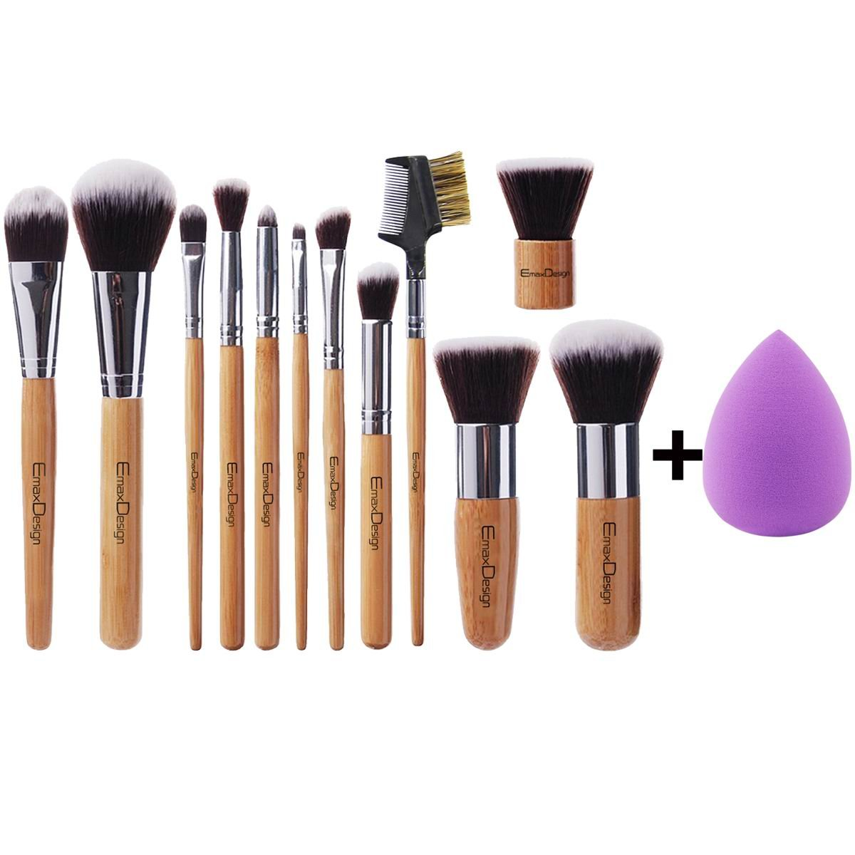 EmaxDesign 12+1 Pieces Makeup Brush Set, 12 Pieces Professional Bamboo Handle Foundation Blending Blush Eye Face Liquid Powder Cream Cosmetics Brushes & 1 Piece purple Beauty Sponge Blender
