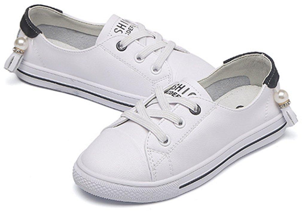 VECJUNIA Girl's Trendy Low Top Round Toe Elastic Casual Flat Shoes Walking (Black, 2.5 M US Little Kid) by VECJUNIA (Image #7)