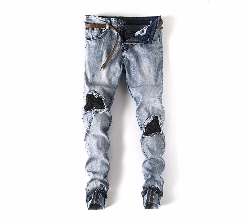 Cargo/&Chinos Mens Ripped Slim Fit Motorcycle Vintage Denim Jeans Hiphop Streetwear Pants