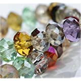 HYBEADS 100per Assorted Top AAA Quality 5040 Assorted Crystal Beads 4mm 6mm 8mm 10mm Faced Glass Beads Crystal Rondelles Bead (6mm)