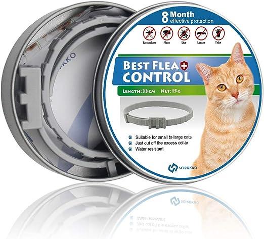SCIROKKO Collar de pulgas Ajustable para Gatos, protección contra ...