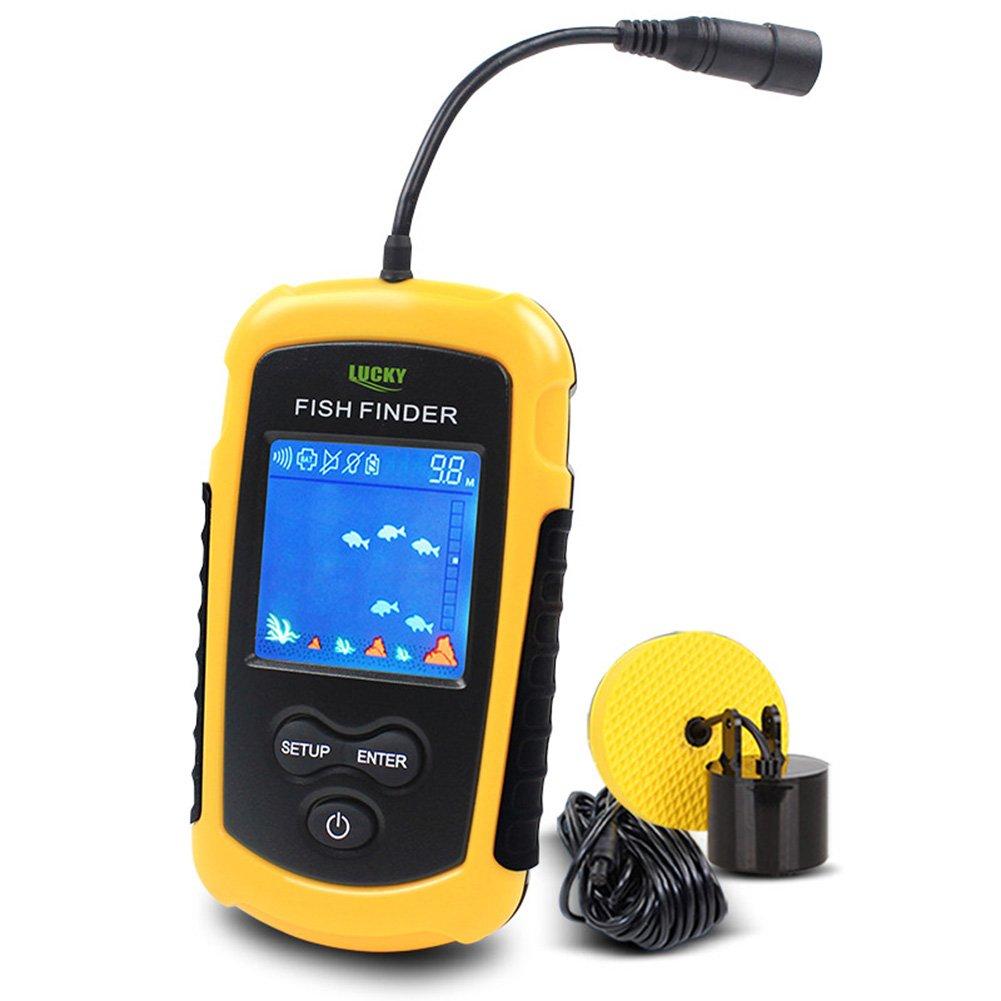 Lucky Fish Finders Alarme 100M / 328ft sonde portative de Sonar de pêche Filaire Détecteur de Profondeur LCD Echo Sounder product image