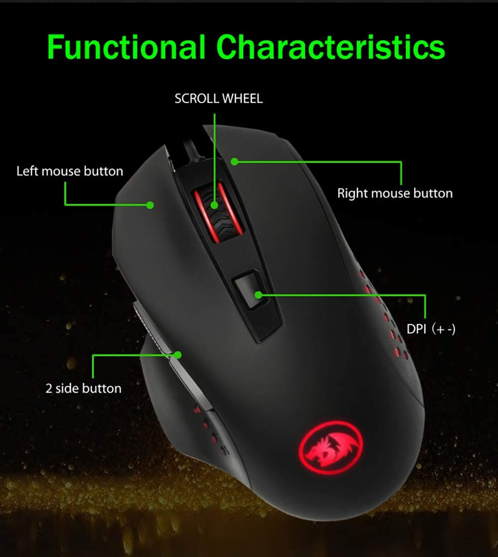 JXH Gaming Optical Mouse,with 4 Colors RGB Backlight Computer Etc 4 DPI Settings Up to 2400 DPI,Ergonomic,for PC Laptop
