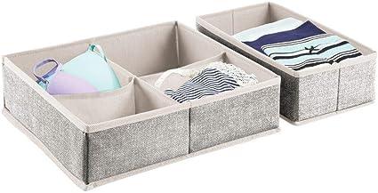 Cestas para ordenar accesorios Juego de 2 cajas organizadoras de tela bisuter/ía y ropa interior Preciosos organizadores para cajones y c/ómodas Color gris mDesign
