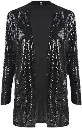 Women Long-Sleeve Open-Front Coat Shiny Sequins Blazer Jacket