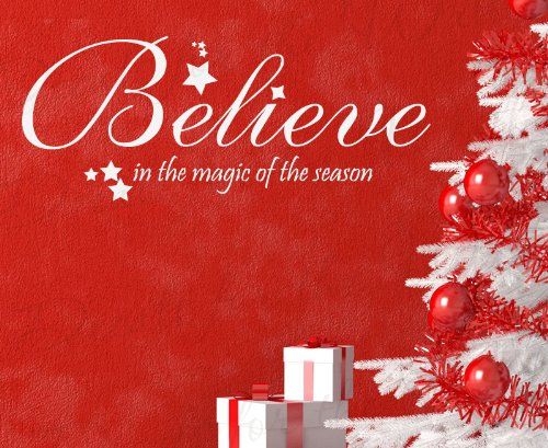 Believe in the Magic of the Season - Christmas Religious God Christ Christian Bible - Wall Decal, Adhesive Vinyl Quote Design Saying, Lettering Decoration, Sticker Graphic Decor Art Letters (Quotes Season Christmas)