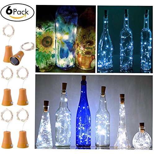 6 Pack Solar Powered Wine Bottle Lights, 10 LED Waterproof Cool White Copper Cork Shaped Lights for Wedding Christmas, Outdoor, Holiday, Garden, Patio Pathway Decor by Ninite