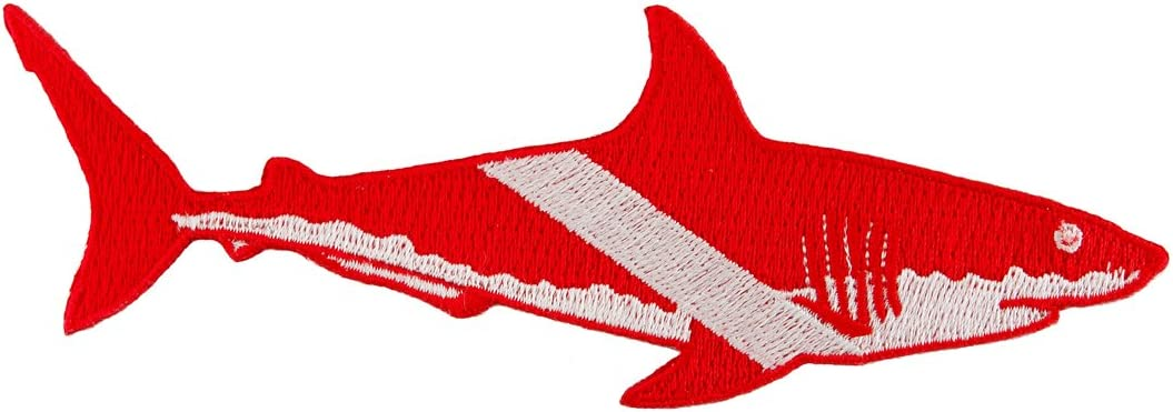 SCUBA SHARK FLAG CUSTOM BADGE EMBROIDERED PATCH