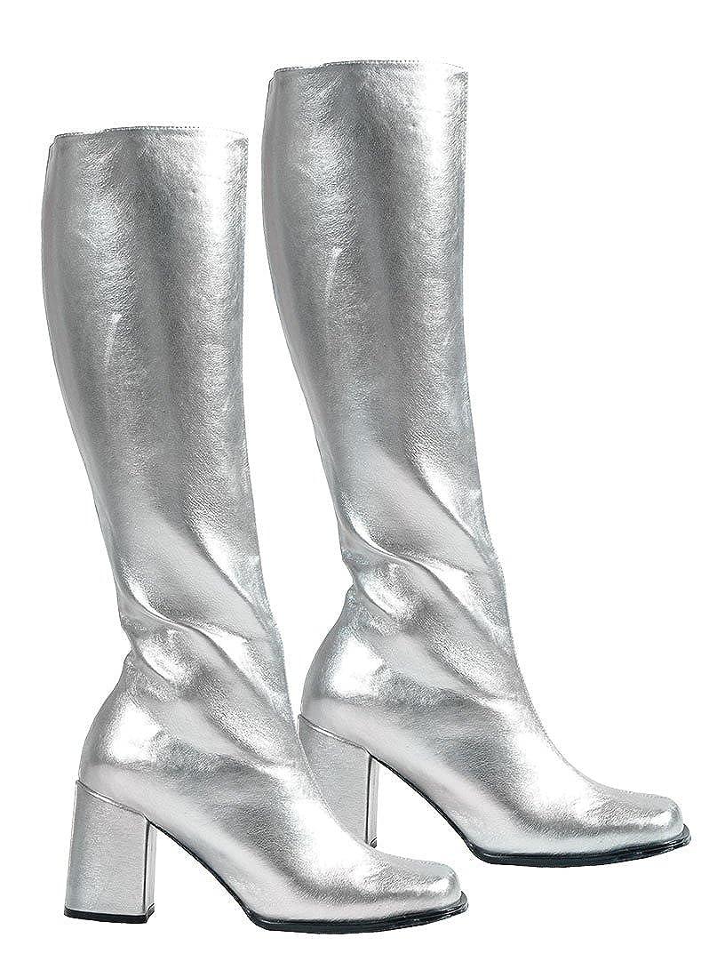 Funtasma GOGO-300, Schlichter Stretch-Stiefel silber, Größe wählen: 36 EU
