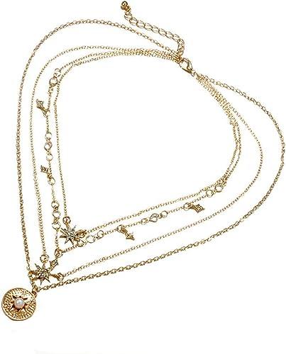 Multilayer Fashion Women Pearl Clavicle Choker Necklace Charm Bib Chain Jewelry