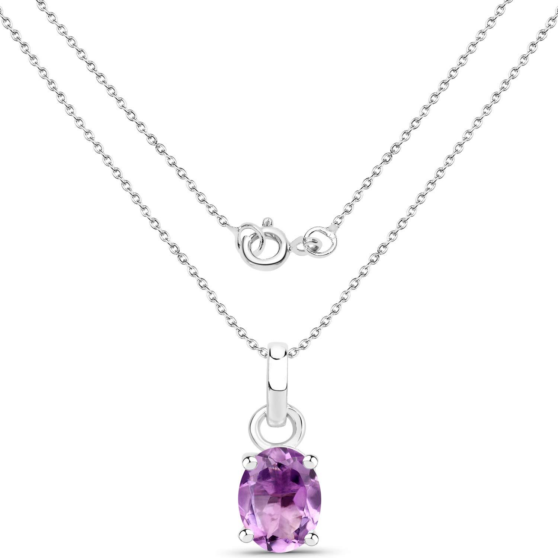 925 Sterling Silver Rhodium Plated Diamond Amethyst Oval Pendant