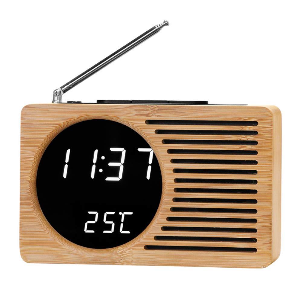 LEWWB Reloj Digital - Radio con Doble Canal Am y FM.Mejor Regalo,Calidad de Madera de bambú Vintage,White: Amazon.es: Electrónica