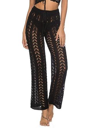 72f6b62d1fa iNewbetter Womens Cover Up Pants Sexy Hollow Out Crochet High Waist Elastic  Band Mesh Beach Bikini
