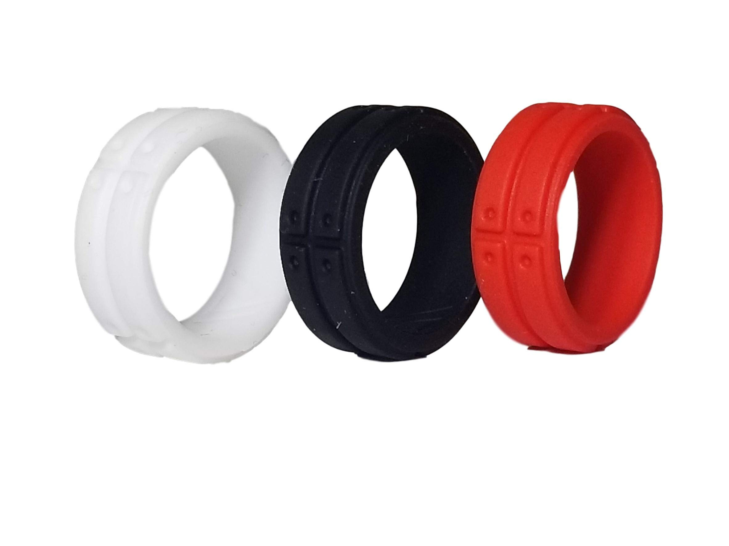 Pink Willow Silicone Ring by NEW Men's Custom ultralite gym Fitness ring, Functional wedding ring, perfect for sports, outdoors and everyday lifestyle's, KARBON (multi 3 pack, 10)