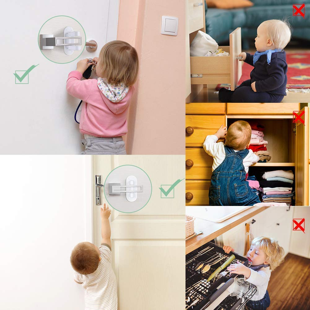 Door Lever Lock - Child/Pets Proof Door Handle Lock with 3M Adhesive - Child Safety Locks by AIRSPO (White, 8 Pack) by AIRSPO (Image #5)