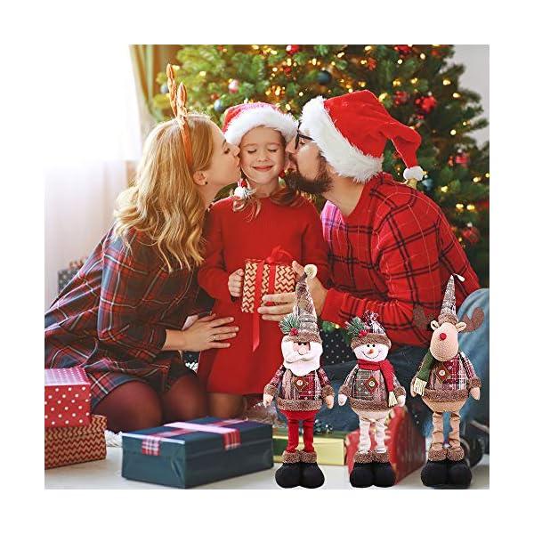 Afaneep Decorazione Natalizia Gnomo 60 cm di Altezza Gambe Retrattili Fatte a Mano Pupazzo di Neve di Natale Bambole di Pezza Babbo Natale Pupazzo di Neve Alce Natale Decorazione e Regalo 5 spesavip