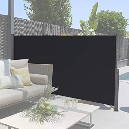 Retractable Outdoor Privacy Screen.Soges 63 Inches H Retractable Side Awning Folding Side Screen Fence Privacy Screen Waterproof Sun Shade Wind Screen Privacy Divider For Garden Black